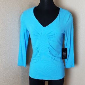 New Etcetera Blue 3/4 sleeve Gathered Top